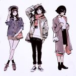 3girls arm_up bag bandaid bandaid_on_knee bangs black_eyes black_hair blunt_bangs blush closed_mouth hair_over_one_eye hand_on_headwear handbag hat ilya_kuvshinov jacket legs_crossed long_hair looking_at_another looking_at_viewer multiple_girls open_clothes open_jacket original scarf short_hair simple_background skirt sleeves_rolled_up standing v white_background