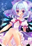 1girl :d alternate_costume bangs blue blue_bow blue_dress blue_eyes blue_hair blue_wings blush bow center_frills cirno detached_wings double-breasted dress eyebrows_visible_through_hair fairy frilled_shirt_collar frills hair_between_eyes hair_bow highres honoka_(1399871) ice ice_wings knees_together_feet_apart looking_at_viewer neck_ribbon open_mouth petticoat puffy_short_sleeves puffy_sleeves red_ribbon ribbon short_hair short_sleeves sitting smile socks solo touhou white_legwear wings