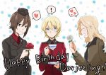 ! 3girls blonde_hair blush bomber_jacket braid brown_eyes brown_hair character_name closed_eyes commentary cup darjeeling eyebrows_visible_through_hair floral_background flower french_braid garrison_cap girls_und_panzer hair_between_eyes hair_intakes happy_birthday hat heart jacket kay_(girls_und_panzer) kuromorimine_military_uniform long_hair multiple_girls nishizumi_maho red_flower red_rose rose saucer saunders_military_uniform short_hair smile spoken_exclamation_mark spoken_heart st._gloriana's_military_uniform teacup white_flower white_rose wide-eyed yuuhi_(arcadia)