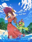 1girl :d absurdres arms_up beach belt belt_buckle blue_sky brown_belt buckle capelet clouds cloudy_sky currynoodle day digimon digimon_adventure dress gloves hair_intakes hands_on_headwear hat highres long_hair open_mouth orange_eyes outdoors palmon partially_submerged pink_hat ponytail red_capelet red_dress sky smile solo sparkle tachikawa_mimi teeth tree water yellow_gloves