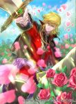 1boy black_cape black_footwear blonde_hair boots cape coat collar collared_cape eltoshan_(fire_emblem) fire_emblem fire_emblem:_seisen_no_keifu fire_emblem_cipher flower holding holding_sword holding_weapon horse horseback_riding knee_boots lips looking_at_viewer male_focus medium_hair nintendo official_art petals pink_flower pink_rose red_coat riding rose sidelocks smile solo suzuki_rika sword turtleneck weapon yellow_eyes