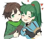 1boy 1girl black_gloves blush brown_hair closed_eyes commentary eyebrows_visible_through_hair fire_emblem fire_emblem:_rekka_no_ken fire_emblem_heroes gloves green_eyes green_hair heart highres long_hair lyndis_(fire_emblem) nintendo open_mouth ormille ponytail smile tactician_(fire_emblem)