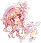 1girl animal_hood bangs blush bow cat_hair_ornament cat_hood cat_tail chibi collarbone commentary_request fang hair_between_eyes hair_ornament hairclip highres honoka_(1399871) hood hood_up hooded_jacket jacket looking_at_viewer loose_socks off_shoulder one_side_up open_clothes open_jacket open_mouth original paw_pose pink_hair pom_pom_(clothes) sleeves_past_wrists smile solo star star_hair_ornament striped striped_bow tail tail_bow unzipped violet_eyes white_bow white_footwear white_jacket yellow_bow