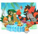 creatures_(company) decidueye dericajira eating food fork fruit game_freak gen_7_pokemon grubbin incineroar nintendo pokemon pokemon_(creature) pokemon_(game) pokemon_sm sandwich