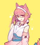 1girl absurdres animal_ears artist_name cat_ears fake_animal_ears fingerless_gloves fire_emblem fire_emblem_heroes fire_emblem_if fur_trim glasses gloves hair_ornament hairband highres japanese_clothes lazymimium nintendo open_mouth pink_gloves pink_hair red_eyes sakura_(fire_emblem_if) short_hair simple_background sleeveless solo yellow_background