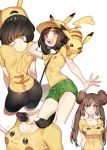 alternate_costume ass bike_shorts blue_eyes breasts brown_hair creatures_(company) double_bun game_freak gen_1_pokemon hat mei_(pokemon) mizuki_(pokemon) nintendo nipples open_mouth pikachu pikachu_print pokemon pokemon_(game) pokemon_sm shirt short_hair shorts t-shirt tight_shirt zuizi