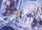3girls armor artoria_pendragon_(all) bianyuanqishi blonde_hair castle_interior character_request crown fate/grand_order fate_(series) green_eyes holding holding_shield holding_sword holding_weapon horse indoors looking_at_another mash_kyrielight multiple_girls parted_lips pillar purple_hair saber_lily shield short_hair standing sword throne violet_eyes weapon