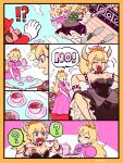 ? armlet bare_shoulders black_dress blonde_hair blue_eyes bowser bowsette bracelet breasts cleavage closed_eyes collar comic crown cup dress fangs gem genderswap genderswap_(mtf) graphite_(medium) highres horns jewelry kidnapping looking_at_another mario mario_(series) mechanical_pencil new_super_mario_bros._u_deluxe nintendo no open_mouth pencil pink_dress ponytail princess_peach rope sharp_teeth speech_bubble spiked_bracelet spiked_collar spikes spoken_question_mark strapless strapless_dress super_crown super_mario_bros. tea teacup teeth traditional_media turtle_shell
