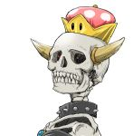 1girl black_dress borrowed_design bowser bowsette brooch chamaji collar commentary_request dress glowing glowing_eyes highres horns jewelry looking_at_viewer mario_(series) new_super_mario_bros._u_deluxe nintendo portrait sharp_teeth simple_background skeleton skull spiked_collar spikes super_crown super_mario_bros. teeth what white_background