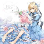 1girl :o absurdres ahoge bangs barefoot blonde_hair blue_dress blue_flower blue_rose bouquet bow c.reo character_name copyright_name dress eyes_visible_through_hair fate/grand_order fate_(series) flower frilled_dress frills gloves hair_between_eyes hair_bow hair_flower hair_ornament hair_over_one_eye highres holding holding_bouquet knees_up koha-ace lily_of_the_valley lolita_fashion long_sleeves looking_at_viewer necktie okita_souji_(fate) okita_souji_(fate)_(all) open_mouth ponytail rose short_hair sitting solo striped tied_hair vertical-striped_dress vertical_stripes white_bow white_gloves