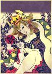 1girl blanket blonde_hair bowser bowsette breasts cleavage crown earrings fine_art_parody genderswap genderswap_(mtf) horns jewelry koorintei_hyoosen looking_at_viewer medium_hair new_super_mario_bros._u_deluxe nihonga parody sitting solo super_crown ukiyo-e