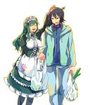 1boy 1girl :3 ahoge bad_anatomy bag black_hair black_legwear blue_jacket blue_pants breasts closed_eyes crown frills green_hair hairband ishiwari jacket kuroi_ginko kuroi_souya large_breasts long_hair long_sleeves maid mini_crown open_mouth pants petting planet_with puffy_sleeves shopping_bag sidelocks simple_background skirt spring_onion standing sweatdrop tilted_headwear violet_eyes