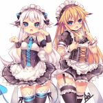 1girl blue_eyes blush chung_seiker demon_girl demon_horns demon_tail elsword horns long_hair luciela_r._sourcream maid maid_headdress paw_pose star star-shaped_pupils symbol symbol-shaped_pupils tail trap utm