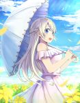 1girl :o arimoto asobi_asobase bare_shoulders blonde_hair blue_eyes blue_sky braid clouds crown_braid day dress eyebrows_visible_through_hair field flower flower_field holding holding_umbrella long_hair olivia_(asobi_asobase) outdoors over_shoulder parasol sky solo standing sunlight umbrella white_umbrella yellow_flower