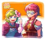 2girls blue_eyes bow cape choker fire_emblem fire_emblem:_rekka_no_ken fire_emblem:_seima_no_kouseki fire_emblem_heroes glasses green_hair hair_bow hairband hzk_(ice17moon) long_hair long_sleeves low_twintails lute_(fire_emblem) multiple_girls nino_(fire_emblem) nintendo parted_lips pink_bow purple_cape purple_hair short_hair twintails
