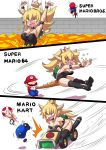 1girl 2boys armlet arms_up blonde_hair bowser bowsette bracelet collar crown genderswap genderswap_(mtf) highres horns jewelry konno_tohiro lava mario mario_(series) mario_kart multiple_boys new_super_mario_bros._u_deluxe nintendo ponytail sharp_teeth spiked_bracelet spiked_collar spikes super_crown super_mario_64 super_mario_bros. tail tail_grab teeth thigh-highs turtle_shell