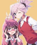 2girls ;) bangs black_skirt blue_eyes blush brown_hair bunny_ears_prank closed_mouth commentary_request earrings eyebrows_visible_through_hair fate/grand_order fate_(series) glasses hair_between_eyes hair_bobbles hair_ornament hood hood_up hoodie jewelry long_sleeves low_twintails miyamoto_musashi_(fate/grand_order) multiple_girls one_eye_closed open_mouth orange_background osakabe-hime_(fate/grand_order) outline pink_hair pink_hoodie pleated_skirt ponytail red-framed_eyewear semi-rimless_eyewear shirt simple_background skirt sleeves_pushed_up smile sweat sweater_vest tsuedzu twintails under-rim_eyewear violet_eyes white_outline white_shirt