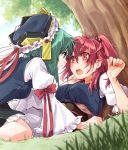 2girls blush bow commentary_request face-to-face grass green_eyes green_hair hair_between_eyes hair_bobbles hair_ornament hat kitsune_maru looking_at_another multiple_girls onozuka_komachi red_bow red_eyes red_ribbon redhead ribbon shiki_eiki short_hair short_sleeves sweat touhou tree yuri