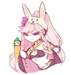 1girl animal_ears artist_name braid breasts carrot cleavage closed_mouth fake_animal_ears fire_emblem fire_emblem:_kakusei fire_emblem_heroes frown highres lazymimium long_hair nintendo olivia_(fire_emblem) pink_eyes pink_hair ponytail rabbit_ears simple_background solo twin_braids white_background