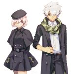 1boy 1girl buttons casual closed_mouth commentary_request eyebrows_visible_through_hair fate/grand_order fate_(series) galahad_(fate) goya_(xalbino) hair_between_eyes hair_over_one_eye hat jacket mash_kyrielight open_clothes open_jacket pink_hair pocket scarf short_hair simple_background spiky_hair violet_eyes white_background white_hair yellow_eyes