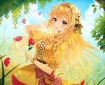 1girl :d absurdres alternate_hairstyle bang_dream! bangs blonde_hair braid center_frills cross-laced_clothes day dress floral_print flower hair_flower hair_ornament hair_ribbon hairband hand_in_hair highres holding holding_flower long_hair looking_at_viewer open_mouth outdoors petals red_flower red_rose ribbon rose shirasagi_chisato short_sleeves side_braid smile solo tokkyu_(user_mwwe3558) violet_eyes white_flower wrist_cuffs wrist_flower yellow_dress