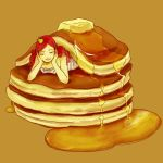 1girl brown_background butter closed_eyes crown food head_rest in_food long_hair original pancake redhead simple_background smile solo stack_of_pancakes syrup ukako