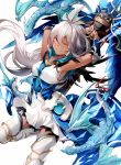 1girl ;) armored_boots armpits arms_up boots collarbone dark_skin dragon dress eyebrows_visible_through_hair floating_hair granblue_fantasy hair_between_eyes hizuki_miya leg_up long_hair looking_at_viewer one_eye_closed pleated_dress red_eyes short_dress silver_hair simple_background smile solo standing standing_on_one_leg very_long_hair white_background white_dress white_footwear zooey_(granblue_fantasy)