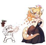 1girl 2boys bare_shoulders blonde_hair blue_eyes borrowed_design bowsette breasts brooch choker cleavage collar crown dress earrings eyebrows_visible_through_hair fang fingernails fireball genderswap genderswap_(mtf) hair_between_eyes hexunart horns jewelry large_breasts luigi mario mario_(series) multiple_boys mushroom nail_polish new_super_mario_bros._u_deluxe nintendo one_eye_closed pointy_ears ponytail short_hair simple_background spiked_armlet spiked_choker spiked_shell spiked_tail spikes strapless strapless_dress studded_collar super_crown super_mario_bros. tail telescope thick_eyebrows white_background