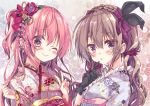 2girls ;) arms_up black_gloves blush bow braid commentary_request curly_hair eyebrows_visible_through_hair finger_to_mouth floral_print flower french_braid frilled_kimono frills gloves hair_bow hair_flower hair_ornament hair_scrunchie highres honoka_(1399871) japanese_clothes kimono light_brown_hair lipstick long_sleeves looking_at_viewer makeup moka_(honoka_chiffon) multiple_girls one_eye_closed one_side_up original pink_hair portrait purple_kimono purple_scrunchie red_kimono rose_(honoka_chiffon) sash scrunchie sidelocks smile tied_hair v violet_eyes