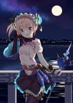 1girl :d absurdres atelier_(series) atelier_lydie_&_suelle black_gloves blush breasts building eyebrows_visible_through_hair full_moon gloves hairband head_tilt highres holding holding_staff juujuu looking_at_viewer lydie_marlen medium_breasts moon night open_mouth outdoors pink_eyes pink_hair railing side_ponytail skirt smile solo staff standing thigh-highs water