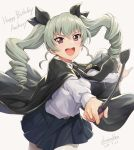 1girl :d anchovy artist_name bangs belt black_cape black_neckwear black_ribbon blue_skirt cape character_name cowboy_shot dated drill_hair fingernails girls_und_panzer grey_background grey_hair hair_ribbon happy_birthday holding leaning_forward long_hair long_sleeves looking_at_viewer necktie open_mouth outstretched_arms pantyhose pointing pointing_at_viewer ribbon riding_crop round_teeth shamakho shiny shiny_hair shirt simple_background skirt smile solo teeth twin_drills twintails upper_teeth v-shaped_eyebrows violet_eyes white_legwear white_shirt
