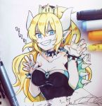 1girl bangs bare_shoulders black_dress blonde_hair blue_eyes bowser bowsette bracelet breasts claw_pose cleavage collar collarbone commentary_request crown dress earrings fingernails genderswap genderswap_(mtf) grin hair_between_eyes hands_up horns jewelry large_breasts long_fingernails long_hair mini_crown new_super_mario_bros._u_deluxe photo pointy_ears ponytail sharp_fingernails sharp_teeth sidelocks smile sofra solo spiked_bracelet spiked_collar spikes strapless strapless_dress super_crown teeth traditional_media turtle_shell v-shaped_eyebrows very_long_hair