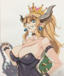 1girl ;d ball_and_chain blonde_hair blue_eyes borrowed_design bowser bowsette bracelet breasts brooch collar collarbone earrings eyebrows_visible_through_hair hair_between_eyes hand_on_hip high_ponytail highres horns jewelry large_breasts mario_(series) meme50 nail_polish new_super_mario_bros._u_deluxe nintendo one_eye_closed open_mouth signature simple_background smile solo spiked_bracelet spiked_collar spikes strapless super_crown super_mario_bros. turtle_shell upper_body