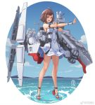 1girl blue_eyes bob_cut brown_hair dress full_body haikou_(peoples_liberation_army_navy) high_heels highres legs looking_at_viewer ocean original outstretched_hand people's_liberation_army_navy personification rigging signature sima_naoteng solo strappy_heels sundress wrist_cuffs