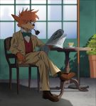 bow bowtie brown_footwear chair crossed_legs cup formal furry indoors meitantei_holmes mouth_hold newspaper orange_hair pipe plant potted_plant red_vest shadow sherlock_holmes_(meitantei_holmes) shoes sitting socks suit suzushiro_(suzushiro333) table teacup vest window