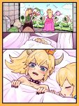 2girls bare_shoulders bed black_dress black_nails blonde_hair blue_eyes blush bowser bowsette bracelet closed_eyes collar comic crown dress earrings fangs flying_sweatdrops genderswap genderswap_(mtf) goomba highres horns jewelry koopa_clown_car koopa_troopa lying mario_(series) multiple_girls nail_polish new_super_mario_bros._u_deluxe nintendo nude on_back pink_dress piranha_plant ponytail princess_peach sleeping spiked_bracelet spiked_collar spikes super_crown super_mario_bros. sweat t_atarou turtle_shell warp_pipe watering yuri