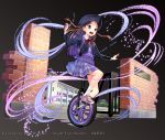 1girl artist_name black_background black_jacket blue_eyes braid brick_wall brown_hair full_body gate jacket kaekae long_hair official_art pink_footwear purple_backpack purple_skirt school shoes shoumetsu_toshi_2 skirt sneakers socks solo twin_braids unicycle watermark white_legwear