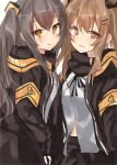 2girls absurdres bangs black_bow black_gloves black_jacket black_ribbon black_skirt blush bow brown_eyes brown_hair commentary eyebrows_visible_through_hair fingerless_gloves girls_frontline gloves hair_between_eyes hair_bow hair_ornament hairclip highres jacket light_brown_hair long_hair multiple_girls natsu_(sinker8c) neck_ribbon one_side_up open_clothes open_jacket parted_lips ribbon scar scar_across_eye shirt skirt twintails ump45_(girls_frontline) ump9_(girls_frontline) very_long_hair white_shirt