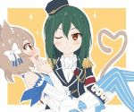 1boy 1girl brown cat crusch_karsten dero ears felix_argyle green hair re:zero_kara_hajimeru_isekai_seikatsu uchu