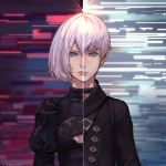 1boy 1girl aureolin31 black_choker black_dress black_jacket blue_eyes breasts choker cleavage_cutout closed_mouth commentary_request dress hairband highres jacket juliet_sleeves long_sleeves medium_breasts nier_(series) nier_automata no_blindfold puffy_sleeves short_hair silver_hair split_image yorha_no._2_type_b yorha_no._9_type_s