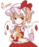 1girl blonde_hair bow character_name earrings eyebrows_visible_through_hair flandre_scarlet hat hat_bow highres holding holding_stuffed_animal holding_stuffed_toy jewelry mob_cap pointy_ears puffy_short_sleeves puffy_sleeves red_bow red_eyes red_vest short_sleeves side_ponytail simple_background solo stuffed_animal stuffed_toy teddy_bear touhou upper_body vest white_background yoruny