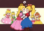 2boys 5girls blush boots bow braid cosplay covering_face crossdressing dress earrings elbow_gloves genderswap genderswap_(mtf) gloves hand_holding heart jewelry long_hair luigi mario mario_(series) multiple_boys multiple_girls new_super_mario_bros._u_deluxe nintendo overall_dress peachette pointing princess_daisy princess_peach princess_peach_(cosplay) short_hair spoken_heart super_crown toadette twin_braids ukata wig yoshi yuri