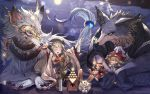 alcohol animal_ears bottle braid claws closed_eyes cup dango detached_sleeves food full_moon granblue_fantasy hakutaku_(granblue_fantasy) hat hood japanese_clothes mask moon moonlight official_art pholia rabbit red_eyes renie sakazuki sake sake_bottle silver_hair tail thigh-highs vee_(granblue_fantasy) wagashi wolf wolf_ears wolf_tail wulf yellow_eyes