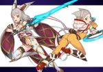 2girls :d absurdres animal_ear_fluff animal_ears ass bare_shoulders bodysuit boots breasts brown_eyes cat_ears chakram character_request detached_sleeves fangs gem grey_hair hair_ribbon high_heel_boots high_heels highleg highleg_leotard highres holding holding_sword holding_weapon hood hood_down kawakami_rokkaku leotard long_hair looking_at_viewer looking_back multiple_girls nintendo niyah open_mouth ribbon short_hair small_breasts smile spoilers sword thigh-highs very_long_hair waist_cape weapon white_legwear wide_sleeves xenoblade_(series) xenoblade_2 yellow_bodysuit yellow_ribbon