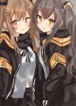 2girls absurdres bangs black_bow black_gloves black_jacket black_ribbon black_skirt blush bow brown_eyes brown_hair commentary_request eyebrows_visible_through_hair fingerless_gloves girls_frontline gloves hair_between_eyes hair_bow hair_ornament hairclip highres jacket light_brown_hair long_hair multiple_girls natsu_(sinker8c) neck_ribbon one_side_up open_clothes open_jacket parted_lips revision ribbon scar scar_across_eye shirt skirt twintails ump45_(girls_frontline) ump9_(girls_frontline) very_long_hair white_shirt