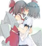 2girls absurdres bangs bare_shoulders black_hair black_neckwear blue_hair blush bow collared_shirt colored_eyelashes commentary_request cowboy_shot detached_sleeves eyebrows_visible_through_hair from_side hair_bow hair_tubes hakurei_reimu hat highres holding hug kedamono_kangoku-tou kiss long_hair long_sleeves multiple_girls newspaper nose_blush ponytail profile puffy_short_sleeves puffy_sleeves red_bow red_eyes red_hat red_skirt ribbon-trimmed_sleeves ribbon_trim shameimaru_aya shirt short_hair short_sleeves sidelocks skirt tokin_hat touhou white_background wide-eyed yellow_neckwear yuri