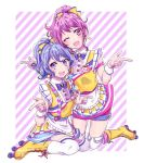 2girls :d ;d alternate_hairstyle apron bang_dream! bangs blue_hair blue_neckwear blush bow bowtie character_name commentary_request diagonal_stripes earrings frills hair_bow jewelry kneeling looking_at_viewer maruyama_aya matsubara_kanon muchise multiple_girls name_tag one_eye_closed open_mouth over-kneehighs pink_eyes pink_hair pointing ponytail roller_skates sitting skates skirt smile striped suspender_skirt suspenders thigh-highs violet_eyes waist_apron waitress white_legwear wrist_cuffs yellow_bow yellow_footwear