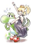 1girl blonde_hair blue_eyes boots bowsette breasts dress egg horns mario_(series) nintendo ponytail sharp_teeth sideboob teeth yoshi