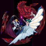 2boys 2girls black_gloves black_hairband black_pants black_shirt black_wings blonde_hair breasts card cleavage detached_sleeve dragon_wings fingerless_gloves fudou_yuusei gloves green_hair hairband holding holding_card izayoi_aki jack_atlas jewelry lazward long_hair looking_up luca_(yuu-gi-ou) medium_breasts multicolored_hair multiple_boys multiple_girls necklace outstretched_arm pants red_eyes red_wings redhead shirt short_sleeves sidelocks single_wing spiky_hair twintails two-tone_hair white_wings wings yu-gi-oh! yuu-gi-ou_5d's