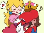 1boy 1girl blush dress earrings elbow_gloves gloves hat hat_tip heart height_difference hetero jewelry mario mario_(series) new_super_mario_bros._u_deluxe nintendo overalls princess_peach puffy_short_sleeves puffy_sleeves red_hat removing_headwear short_sleeves spoken_heart super_crown ukata white_gloves